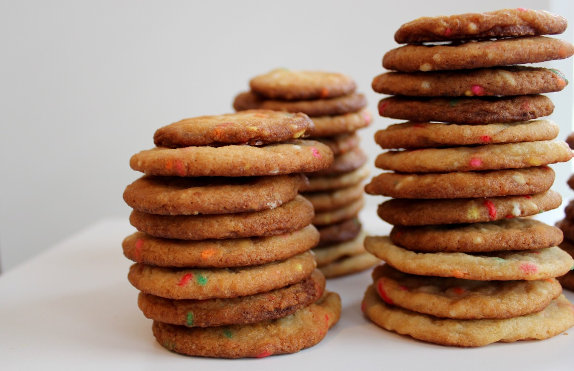 Three stacks of cookies with one in focus.jpg