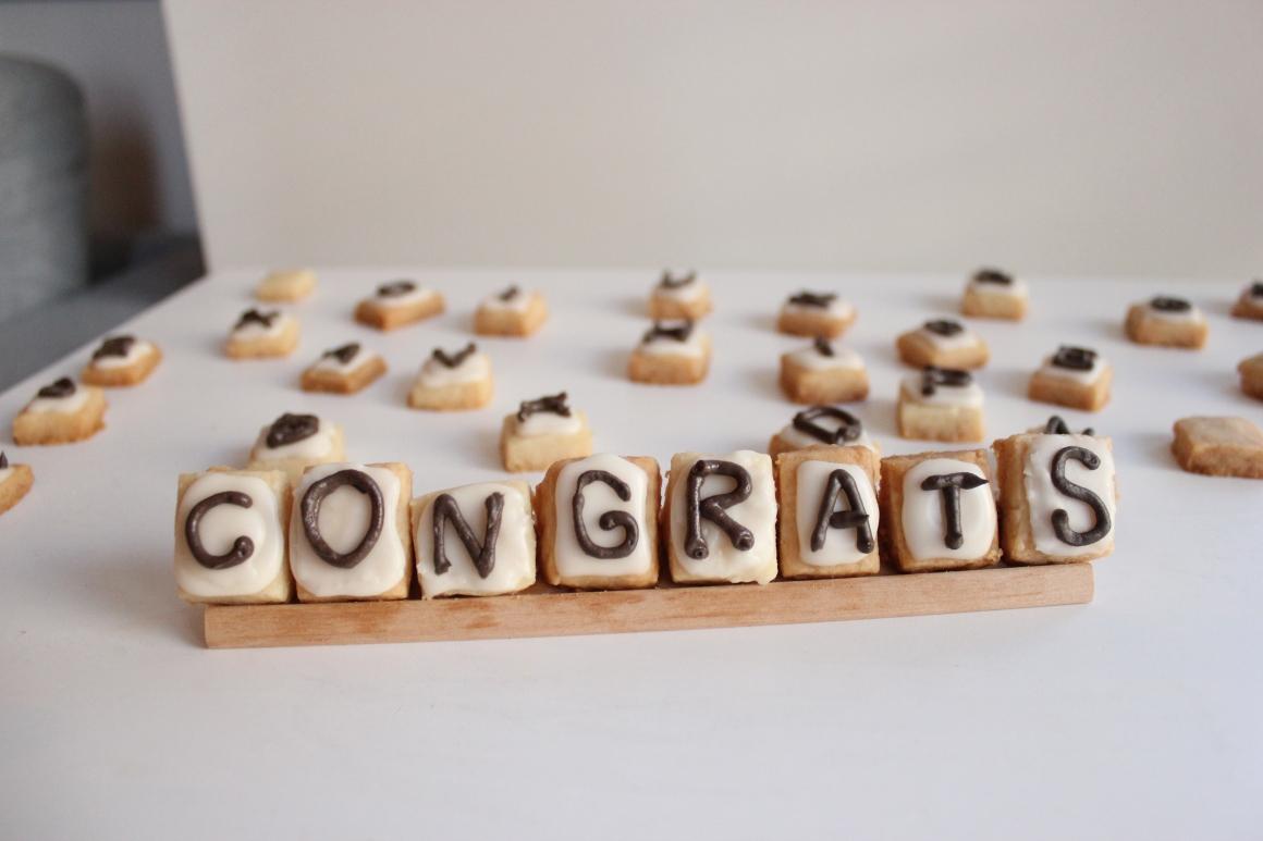 Scrabble cookies spelling Congrats.JPG