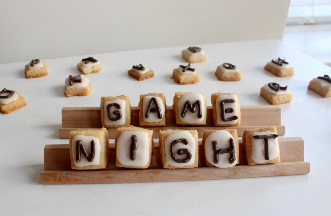 Scrabble cookies spelling Game Night