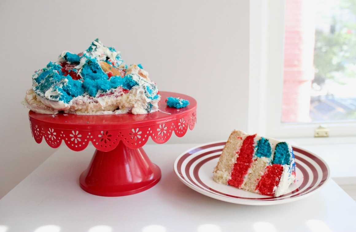 Destroyed flag cake next to a slice.jpg
