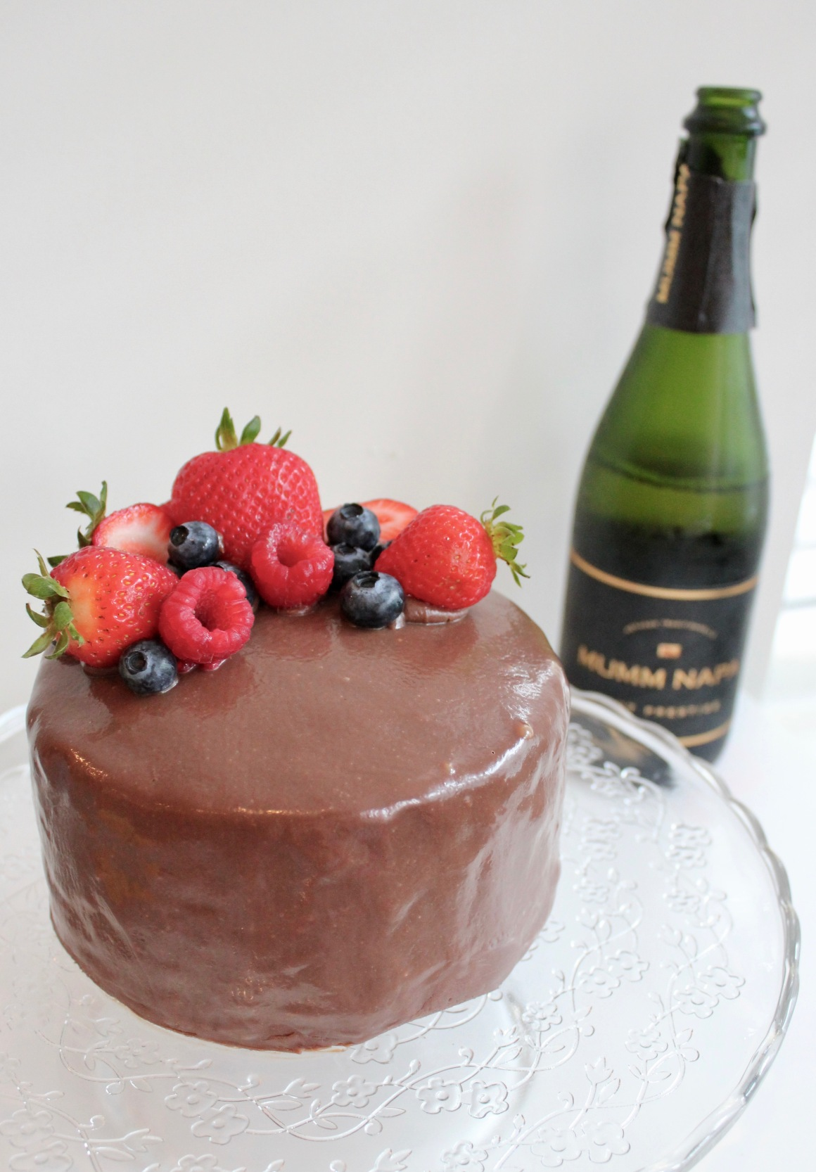 Berry cake with mumm napa champagne
