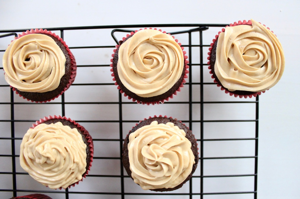 Iced peanut butter cupcakes