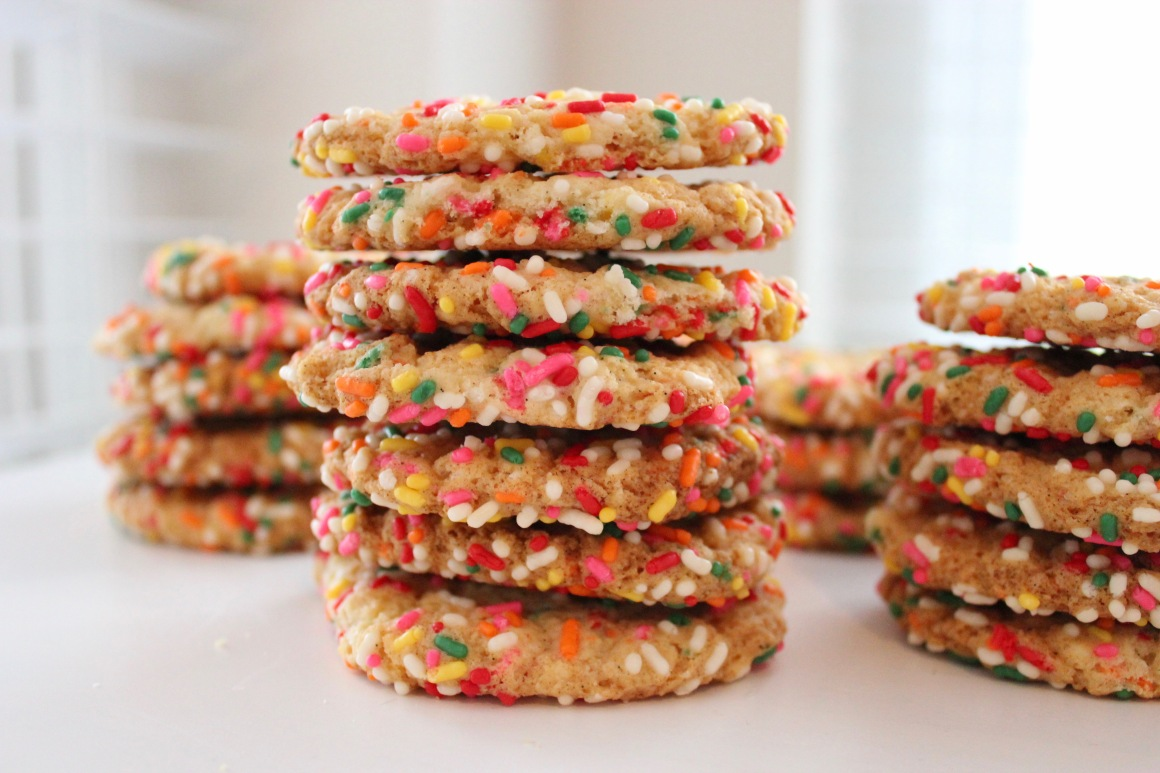 Close-up of a stack of vanilla rainbow sprinkle cookies